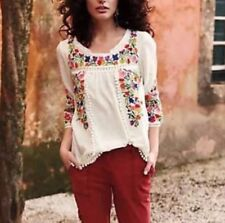 Vanessa Virginia Embroidered Pom Pom Peasant Blouse Anthropologie Size 2 Euc