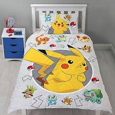 Pokemon Catch Single Reversible Childs Duvet Cover Pillow Character Bedding Set
