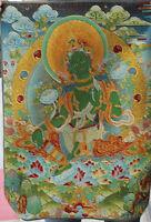 "36"" Buddhism Silk Cloth Green Tara Mahayana Goddess Bodhisattva Thangka Statues"