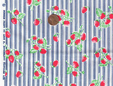 "Vintage LEON ROSENBLATT FABRIC~ Red Strawberry Blue Ticking Stripe 44""W BTY"