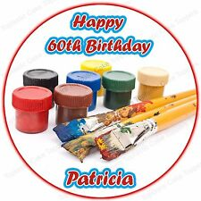 Personalised Artist Painter Art Paint Brushes & Pots Edible Icing Cake Topper