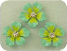 2 Hole Beads Flowers~Aqua Lime w/Clear Swarovski Crystal Elements ~Sliders QTY 3