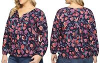Lucky Brand Women's Plus Size Tassel Floral Print Peasant Blouse, Navy/Multi, 3X