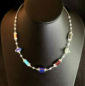 """Sterling Silver Necklace Liquid Silver Art Glass Bead Stations 18"""" 12g 925 #1088"""