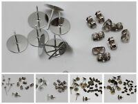 Flat Blank Pad Earring Ear Post Stud with Stopper Jewelry Findings