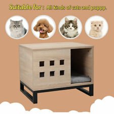 16x16x20 in Small Pet House Wooden Dog Cage Puppy Cat Kitty Bed W/ Cushion Pad