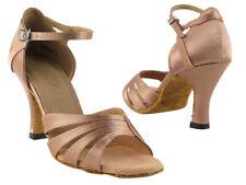 1680 Brown Satin Swing Salsa Mambo Latin Dance Shoes heel 3 Size 6 Very fine