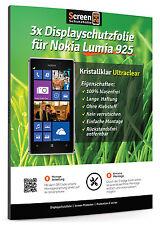 3x Displayschutzfolie für Nokia Lumia 925 Klar Clear Schutzfolie Displayschutz