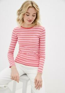 BNWT M&S Pure Cotton Pink Striped Long Sleeve T-shirt Top UK 10 12 14 16  (ST92)