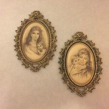 Vintage Framed Artwork - Mother and Child - Italy - Tender Moments Cloth & Metal