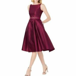ADRIANNA PAPELL NEW Women's Beaded Belted Mikado Satin Fit & Flare Dress 14 TEDO