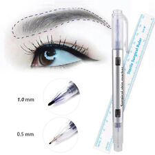 Waterproof Microblading Tattoo Eyebrow Skin Marker Pen With Measuring Ruler 2pcs