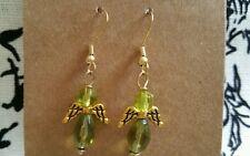 Handmade Green Beads Pewter Gold Filled Angel Spirituality Dangle Earrings