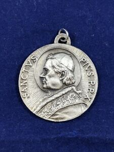 Vintage Pope Pius X Sterling Silver Medal Confraternity Christian Doctrine Award