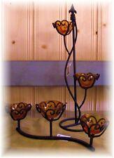 3er Windlicht Tischleuchter Metall Glas liegend 32cm Landhaus rustikal Herbst