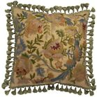 THROW PILLOW TRADITIONAL ANTIQUE 20X20 BRONZE GREEN GOLD COTTON CANVAS WOOL