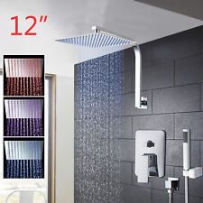 Ceiling mounted Rainfall Bathroom LED Shower Mixer Tap Bathtub Faucet Set Chrome
