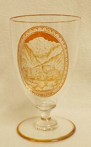 """19th Century Bohemian Clear Glass Goblet With Etched Amber Reserve """"Jung-Frau"""""""