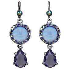 Kirks Folly Seaview Moon Tears Leverback Earrings Silvertone & Purple AB