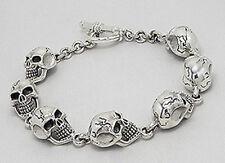"9"" NEW Solid Sterling Silver 20mm x 11mm Skull Link Bracelet 41.88 grams HEAVY"