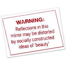 "Warning Reflection in Mirror Beauty car bumper sticker decal 5"" x 4"""