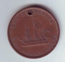 1843 One 1 Penny Token New Brunswick Canada H-1027