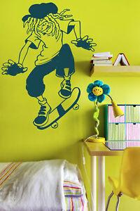 Rasta Skater Boy Kids / Teenager Room Wall Stickers Amazing Vinyl Decal Decor UK