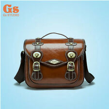 New PU Waterproof DSLR Camera Shoulder Bag Red-brown for Canon Nikon Size M