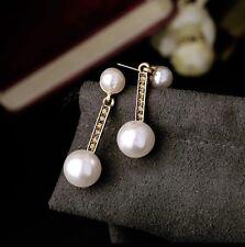 Pearl Diamante Small Studs Drops Vintage Earrings Girls Ladies Boho Goth Gift UK