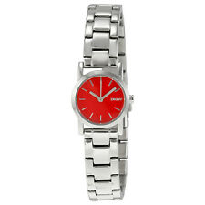 DKNY Red Dial Stainless Steel Ladies Watch NY2188