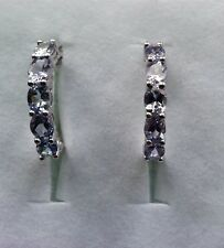 Platinum Overlay 925 Sterling Silver Tanzanite Diamond Hoop Earrings #10