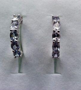 Platinum Overlay 925 Sterling Silver Tanzanite Diamond Hoop Earrings #10