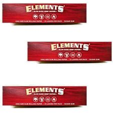 3 Packs Elements Red King Size Slim Slow Burn Rolling Papers USA Shipped