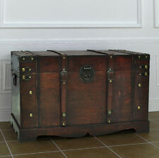 Farmhouse Side Table Vintage Coffee Chest Living Room Trunk Old Wood Storage Box