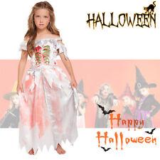 Children Zombie Daughter Halloween Costume Zombie Fairy Fancy Dress 10-12 yrs