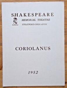 Tragedy of Coriolanus programme Shakespeare Memorial Theatre 1952 Anthony Quayle