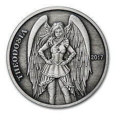 5 oz Silver Antique Round - Angels & Demons Series (Theodosia) - SKU #149314