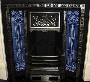 ART NOUVEAU FIREPLACE TILE SET (2 X 5 TILE PANELS) REF AN25 BLUE