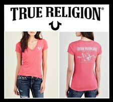 TRUE RELIGION CRYSTAL CLASSIC LOGO DEEP V WOMEN'S TEE SIZE XS - L (NWT) MSRP $79