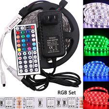 5M 5050 RGB Impermeable Tira de Luz LED SMD 44 clave remoto 12V US Power Kit Completo