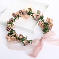 Bridal Wedding Crown Hairband Coffee Rose Pearl Flower Ribbon Headpiece Headband