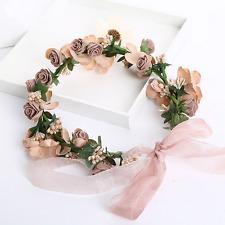 Vintage Women Wedding Handmade Coffee Rose Pearl Flower Tiara Crown Headband