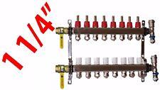 """8 Loop 1 1/4"""" PEX Manifold Radiant Floor Heating Stainless Steel and Connectors"""