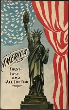 Patriotic Postcard~Statue of Liberty US Flag ~ America First Last & All The Time