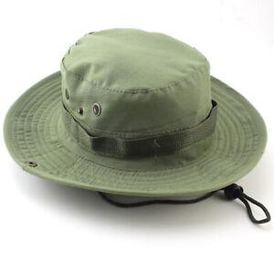 Mens Wild Brim Boonie Bucket Hat Fishing Military Safari Camping Hiking Cap