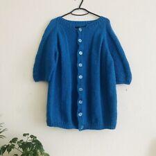 Vintage Retro 1970's Blue Hand Made Cardigan Jumper Woolen