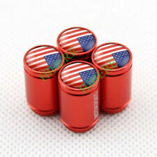 Red Style Auto Accessories USA US Flag Wheel Tire Tyre Stem Dust Air Valve Caps
