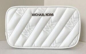 New Michael Kors Rose Belt bag Quilted Vegan Leather Optic White