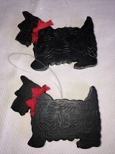 Two Scottie Scottish Terrier Dog Wood Ornaments Red Ribbon (Dept 56)