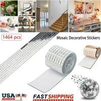 1M Glass Mirror Mosaic Sticker Self-Adhesive Mini Square Glass Sticker Decals US